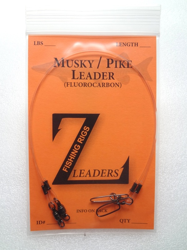 5 Pack Fluorocarbon Leaders Musky Pike Leader Stay Lok Snap Crane Swivel Muskie